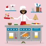 Kvinnlig kockmatlagning royaltyfri illustrationer