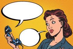 Kvinnlig kommunikation för telefonkonversation stock illustrationer