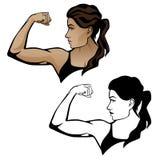 Kvinnlig konditionkvinna som böjer armillustrationen vektor illustrationer