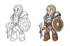 Kvinnlig krigare med en sköld och en yxa som isoleras på vit bakgrund royaltyfri bild