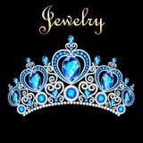 kvinnlig krona, tiara, med blåa ädelstenar Fotografering för Bildbyråer