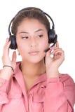 Kvinnlig latinamerikansk kundrepresentant med Arkivfoto