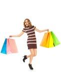 Kvinnlig lycklig shopping Royaltyfri Bild