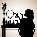 Kvinnlig makeup, spegel, mode, doft, rum, möblemang, glamour royaltyfri illustrationer