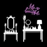 Kvinnlig makeup, spegel, mode, doft, rum, möblemang, glamour vektor illustrationer