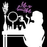 Kvinnlig makeup, spegel, mode, doft, rum, möblemang, glamour stock illustrationer