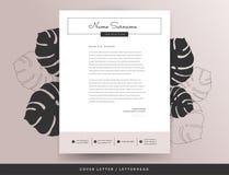 Kvinnlig mall för brevhuvudföljebrevdesign stock illustrationer