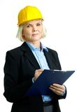 Kvinnlig med clipboarden Arkivbild