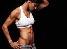 Kvinnlig med perfekta magemuskler arkivbild