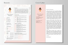 Kvinnlig meritförteckning och följebrev med infographic design stock illustrationer