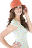 Kvinnlig modell för brunett med ett förvånat eller förvånat uttryck fotografering för bildbyråer