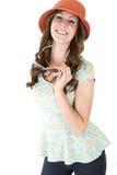 Kvinnlig modell för brunett med ett förvånat eller förvånat uttryck arkivbild