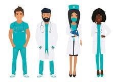 Kvinnlig och manlig medicinsk personal royaltyfri illustrationer