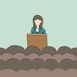 Kvinnlig offentlig högtalare Fotografering för Bildbyråer