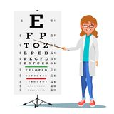Kvinnlig oftalmologivektor Medicinsk ögondiagnostik Diagram för doktor And Eye Test i klinik Synförmågaskärpaexamen stock illustrationer