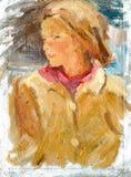 Kvinnlig olje- målning för stående Royaltyfri Bild