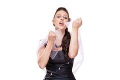 Kvinnlig operasångare Performing i hennes etappklänning Royaltyfri Foto