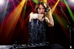 Kvinnlig partidiscjockey Royaltyfri Foto