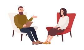 Kvinnlig patient i f?t?ljen och manlig psykolog, psykoanalytiker eller psykoterapeut som framme sitter av henne och samtal royaltyfri illustrationer