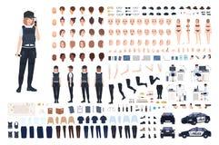 Kvinnlig polisanimeringuppsättning eller DIY-sats Packe av kvinnliga poliskroppsdelar, framsidor, frisyrer, likformig, kläder royaltyfri illustrationer