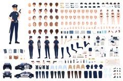 Kvinnlig poliskonstruktör eller DIY-sats Samling av kvinnliga poliskroppsdelar, ansiktsuttryck, frisyrer royaltyfri illustrationer