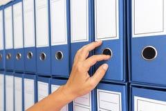 Kvinnlig revisor som arkiverar affärsdokumentation arkivfoton