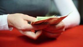 Kvinnlig revisor som räknar amerikanska dollar Finans och stabilitet Rik person arkivfilmer