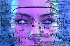 Kvinnlig robotframsida med elektroniska strömkretsar stock illustrationer