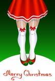 Kvinnlig Santa Claus med spensliga ben i strumpor Vektor Illustrationer