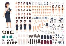 Kvinnlig sekreterare- eller kontorsassistentanimeringsats Packe av kroppsdelar för kvinna` s, gester, ställingar, isolerad kläder royaltyfri illustrationer
