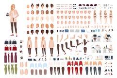 Kvinnlig sekreterare- eller kontorsassistentkonstruktör eller skapelsesats Packe av nätta kroppsdelar för tecknad filmtecken, ans stock illustrationer