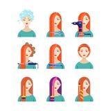 Kvinnlig service för hårsalong, plan illustration för vektor Härlig kvinna i frisering Skönhetstylistbegrepp vektor illustrationer