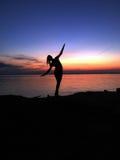 Kvinnlig silhouette Arkivfoto