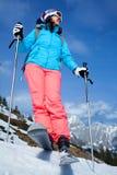 Kvinnlig skidåkare Arkivfoto