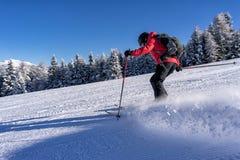 Kvinnlig skidåkare på en lutning Arkivfoton