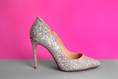 Kvinnlig sko på bakgrund fotografering för bildbyråer