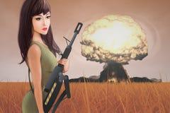 Kvinnlig soldat Arkivfoton