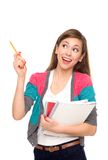 kvinnlig som pekar deltagaren Arkivbild