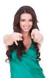 kvinnlig som pekar dig som är ung Royaltyfria Foton