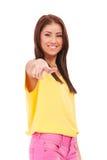 kvinnlig som pekar dig som är ung Royaltyfri Bild