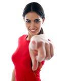 kvinnlig som pekar dig som är ung Fotografering för Bildbyråer