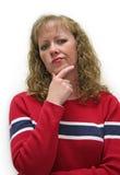 kvinnlig som ser skeptical Arkivbild