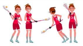 Kvinnlig spelarevektor för lacrosse Högstadium eller högskolaflicka Team Members Yrkesmässig idrottsman nen Sportkonkurrenser royaltyfri illustrationer