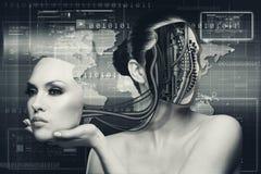 Kvinnlig stående för science fiction för din design Arkivfoton