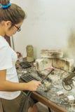 Kvinnlig student Art School San Alejandro Havana Fotografering för Bildbyråer