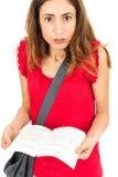 Kvinnlig student som ser förvirrad Royaltyfria Foton