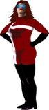 Kvinnlig Superhero i rött med det vita bandet Arkivfoto