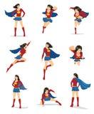 Kvinnlig Superhero med röd udde Arkivbild
