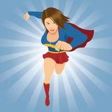 Kvinnlig Superhero som framåtriktat kör Arkivbild