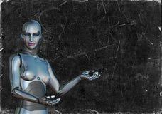 Kvinnlig svart tavla för kvinnaAndroid robot Royaltyfria Bilder